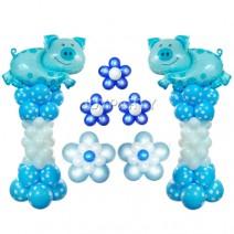 블루돼지기둥세트(1쌍)-완성품무료배달