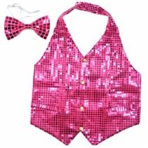 뉴반짝이조끼+넥타이 (핑크)