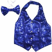 뉴반짝이조끼+넥타이 (블루)