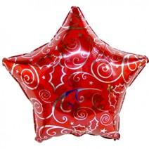 크리스마스별인쇄레드 (은박풍선)