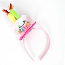 생일케익모자머리띠 (핑크)