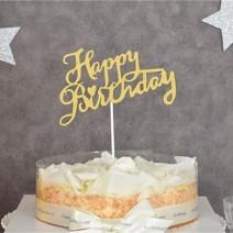 케익데코픽 생일 캘리그라피 골드